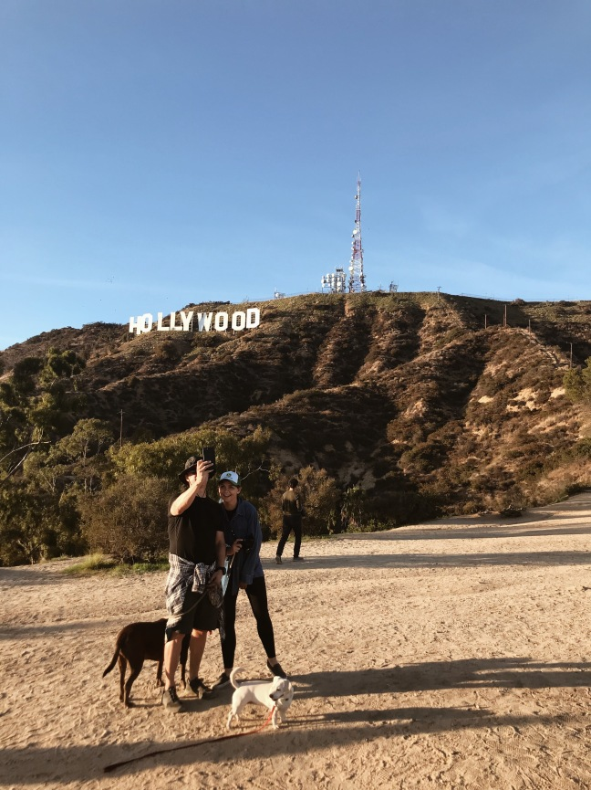Taking a selfie at the Hollywood sign